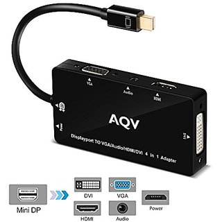 Mini DP Adapter, AQV 4 in 1 Mini DisplayPort to HDMI/DVI/VGA/Audio with Audio Output Male to Female Adapter Converter Th