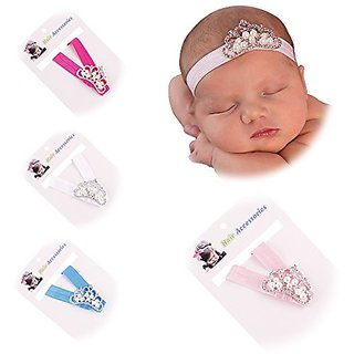 Lovinglove Baby Girls Crown Elastic Headbands Cute Hair Accessories (4 Pieces Pure Color Bands)