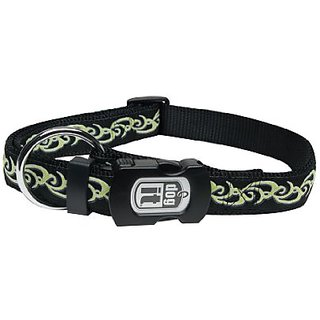 Dogit Style Medium Adjustable Nylon Collar with Plastic Snap, Inked, Lime on Black