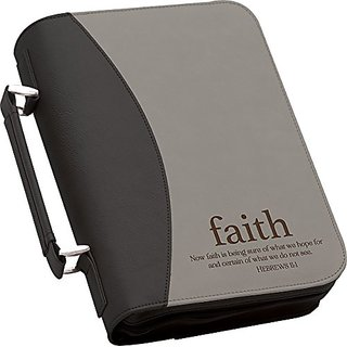 Now Faith is Being Sure Large 11 x 8 Black and Grey Faux Leather Cover Case