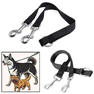 Pecute Nylon Coupler Leash 1 Lead Duplex 2 Way Dual Double Leash Two Dog Walk Necklace