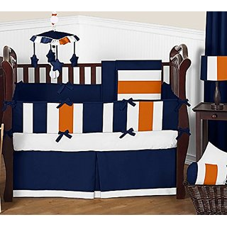 Sweet Jojo Designs Modern Navy Blue and Orange Stripe Print Boys Baby Bedding 9 Piece Crib Set with Bumper