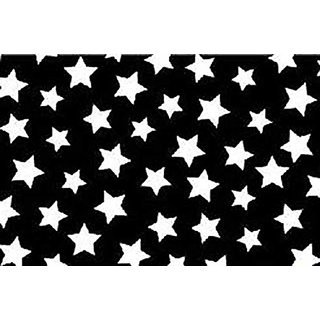 SheetWorld Fitted Cradle Sheet - Primary Stars White On Black Woven - Made In USA