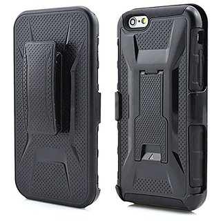 iPhone 6 6S Case 3-in-1 Combo Holster Case Heavy Duty Rugged Soft Silicone Dual Layer Armor Stand Case with Locking Belt