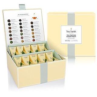 Tea Fort Tea Chest Tasting Assortment with 40 Handcrafted Pyramid Tea Infusers - Black Tea, Herbal Tea, Oolong Tea, Gree
