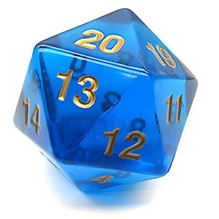 Transparent Sapphire with Gold Numbers 20 Sided Dice 55mm Koplow