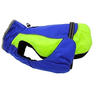 Doggie Design Alpine All Weather Dog Sport Parka Coat - Cobalt Blue and Iridescent Green Size XS