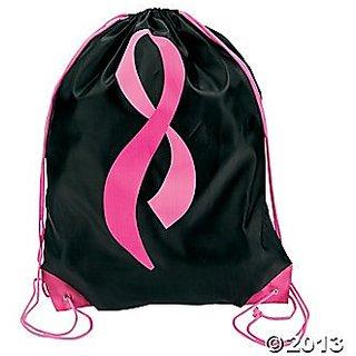 12 Black PINK RIBBON Backpacks/DRAWSTRING Knapsack/FUNDRAISING Walk/Run/RELAY TEAM/BREAST CANCER AWARENESS