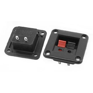 uxcell 2pcs Red Black 2 Way Push Type Square Speaker Terminals Connectors