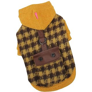 Pinkaholic New York Paramount Hooded Dog Sweater, Large, Mustard