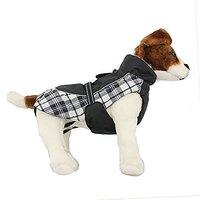 Doggie Design Alpine All Weather Dog Sport Parka Coat - Black And White Plaid Size M