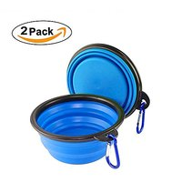 Premium Collapsible Dog Bowls SupThin (2-pack) Collapsible, Food Grade Silicone BPA Free FDA Approved, Foldable Expandab