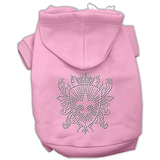 Mirage Pet Products 16-Inch Rhinestone Fleur De Lis Shield Hoodies, X-Large, Pink