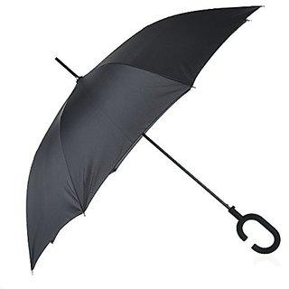 Remedios Windproof Auto Open Creative Hands Free Umbrella with C Hook Handle Black