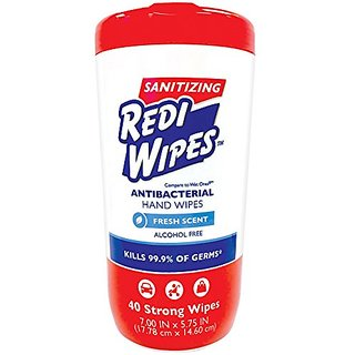 Rediwipes Sanitizing Redi Wipes Antibacterial Hand Wipes Fresh Sent Alcohol Free, 40-Count