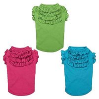 Tiered Ruffle Dog Tee Color: Parrot Green, Size: Medium
