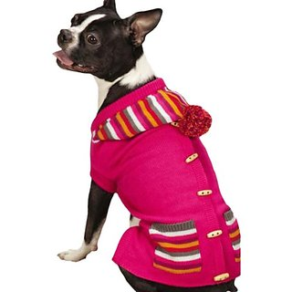 East Side Collection Bright Stripe Dog Sweater Vest, Small/Medium, Pink