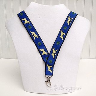 Soft-coated Wheaten Terrier Dog Breed Neck Lanyard for ID or Keys - Blue