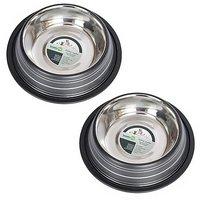 Iconic Pet 1 Cup Color Splash Striped Non-Skid Pet Bowl For Dog Or Cat (2 Pack), Black, 8 Oz