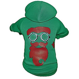 Pet Life LED Lighting Cool Santa Shades Hooded Sweater Pet Costume, Large, Green