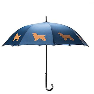The San Francisco Umbrella Company Cocker Spaniel Stick Umbrella, Navy Blue/Beige