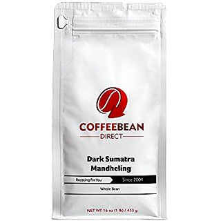 Coffee Bean Direct Dark Sumatra Mandheling, Whole Bean Coffee, 16-Ounce Bags (Pack of 3)