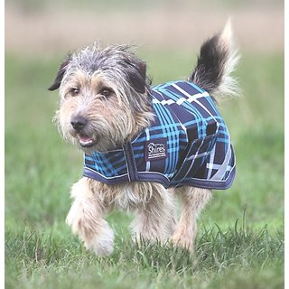 Shires Equestrian Waterproof Dog Coat - Size:Small (18-20) Color:Navy Check