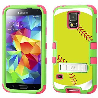 One Tough Shield Hybrid 3-Layer Kick-Stand Phone Case (Lime/Pink) for Samsung Galaxy S5 / S-V - (Green Softball)