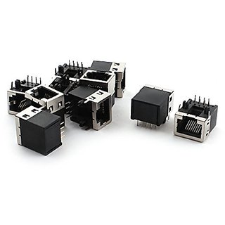 uxcell 10PCS 8 Position RJ45 8P8C PCB Jack Socket Port 18mm for LAN Network