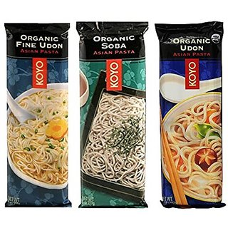 Koyo Organic Japanese Noodle 3 Flavor Variety Bundle: (1) Organic Soba, (1) Organic Udon, and (1) Organic Fine Udon, 8 O