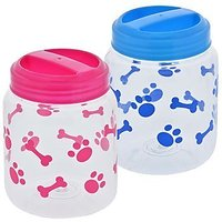 BPA-Free Plastic Airtight Cat And Dog Pet Treat & Food Storage Containers Canisters, Set Of 2, 1 Blue & 1 Pink With Paw