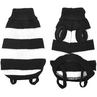 White Black Stripe Printed Turtleneck Pet Dog Sweater Apparel M