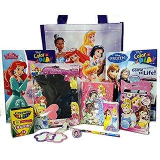 DISNEY PRINCESS coloring Bundle Reusable Tote Coloring Books Activity Notepad Stickers 24 Crayola Crayons Cinderelas Sho