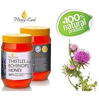 Honey Land 100% Pure Raw Unheated Thistle Flowers Honey - Organic & Kosher - From The Nectar Of Thistle-Echinops Flower