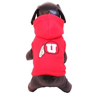 NCAA Utah Runnin Utes Polar Fleece Hooded Dog Jacket, X-Large