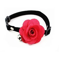 Adjustable PU Leather Dog Cat Tie Rose With Small Bell Style,Red S