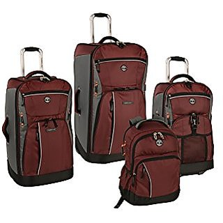 Timberland Danvers River 4 Piece Luggage Set, Chocolate Truffle/Grey