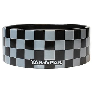 Yak Pak Grey Black Check Dog Bowl, 6-Inch