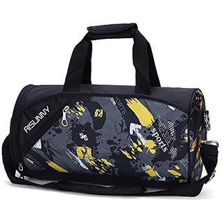 52e038961079 RISUNNY Barrel Gym Bag Sports Duffel Bags with Shoes Compartment for Men  and Women (Black)