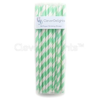 CleverDelights Biodegradable Paper Straws - Mint Stripe - Box of 100