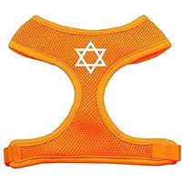 Mirage Pet Products Star Of David Screen Print Soft Mesh Dog Harnesses, X-Large, Orange
