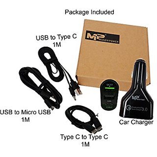 Mugen Power - Qualcomm QC3.0 Certified USB & Type C 12/24V Car Charger Combo Package Fully Matched All in One Solution.