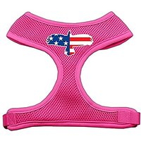 Mirage Pet Products Eagle Flag Screen Print Soft Mesh Dog Harnesses, X-Large, Pink