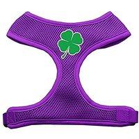 Mirage Pet Products Shamrock Screen Print Soft Mesh Dog Harnesses, Medium, Purple