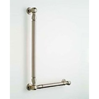 Jaclo G21-12H-16W-RH-ACU 90 Degree Reeded with Finials Grab Bar with Right-Hand Configuration, Satin Nickel