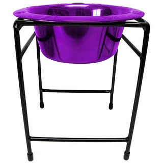 Platinum Pets Modern Single Diner Stand with 12-Ounce Rimmed Bowl, Purple