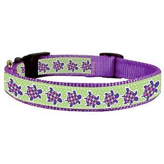 Perris Leather Purple Turtle Ribbon Nylon Dog Collar, Small