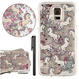 KAWOO Galaxy S5 Shiny stars Case,Cartoon Horse Liquid floating Glitter Clear Hard Case Cover For Samsung Galaxy S5(Silve