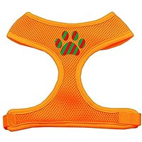 Mirage Pet Products Christmas Paw Screen Print Soft Mesh Dog Harnesses, Small, Orange