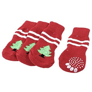 Uxcell Christmas Tree Pattern Acrylic Nonslip Pet Socks (2 Pair), Large, Red